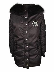 Miu Miu Buttoned Logo Patch Hooded Jacket