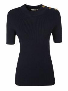 Tory Burch Logo Button Short Sleeve Sweater