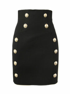 Balmain Black Wool Skirt