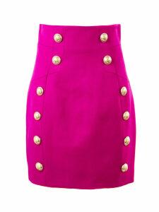 Balmain Fuchsia Wool Skirt