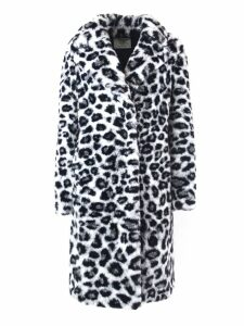 Alberta Ferretti White And Black Faux Fur Long Coat