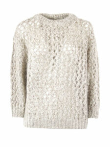 Brunello Cucinelli Mohair And Cashmere Sparkling Net Sweater