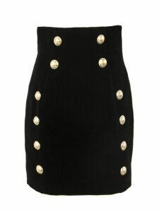 Balmain Black Velvet Skirt