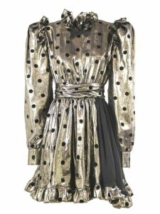 Fausto Puglisi Gold And Black Silk Blend Pois Dress