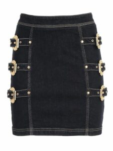 Versace Jeans Couture Skirt Denim W/3 Gold Buckle