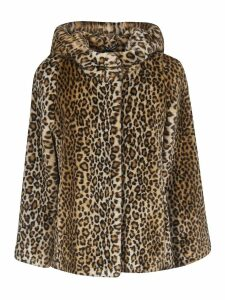 Tagliatore Animal Print Hooded Coat