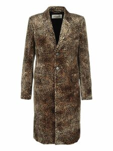 Saint Laurent chesterfield Coat With Mini Leopard Print