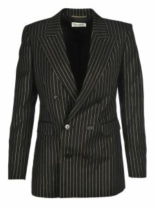 Saint Laurent Double-breasted Gabardine Jacket With Lurex Stripes