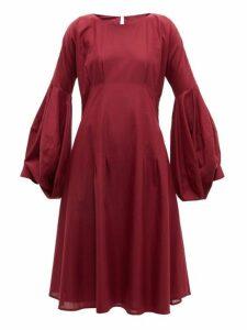 Merlette - Darted Cotton Dress - Womens - Burgundy