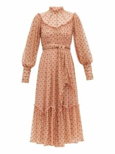 Zimmermann - Espionage Polka Dot Silk Chiffon Midi Dress - Womens - Pink Print