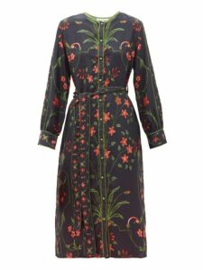 D'ascoli - Belted Floral Print Silk Twill Dress - Womens - Black Multi