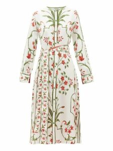 D'ascoli - Belted Floral Print Silk Twill Dress - Womens - White Multi