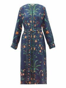 D'ascoli - Floral Print Silk Midi Shirt Dress - Womens - Blue Multi