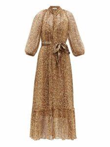 Zimmermann - Espionage Leopard Print Silk Midi Dress - Womens - Brown Multi