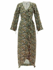 D'ascoli - Leela Floral-print Silk Maxi Dress - Womens - Green Print