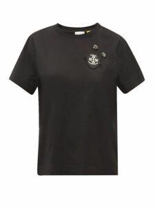 4 Moncler Simone Rocha - Crystal Embellished Cotton Jersey T Shirt - Womens - Black
