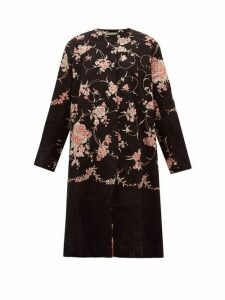 By Walid - Tanita 19th-century Floral-embroidered Silk Coat - Womens - Black Pink