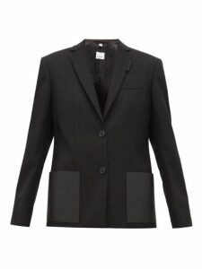 Burberry - Narbeth Leather Trimmed Wool Blazer - Womens - Black