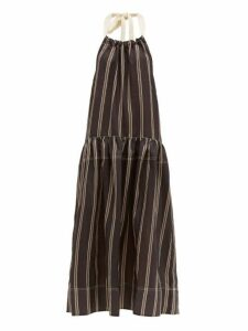 Lee Mathews - Granada Halterneck Striped Voile Maxi Dress - Womens - Black
