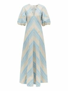Lee Mathews - Tilda Chevron Linen Blend Maxi Dress - Womens - Light Blue