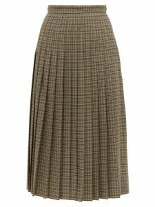 Rochas - Checked Pleated Wool Blend Midi Skirt - Womens - Brown Multi