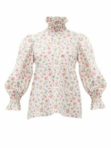 Horror Vacui - Collia Floral Print Smocked Cotton Top - Womens - White Multi
