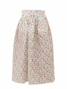 Horror Vacui - Toga Floral Print Cotton Midi Skirt - Womens - White Multi