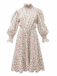 Horror Vacui - Collia Floral Print Cotton Midi Dress - Womens - White Multi