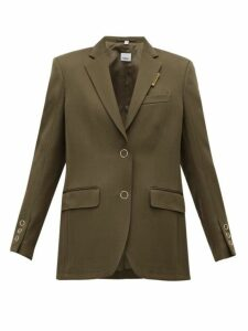 Burberry - Logo Tab Single Breasted Wool Blazer - Womens - Brown