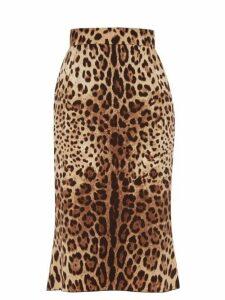Dolce & Gabbana - Leopard Print Charmeuse Pencil Skirt - Womens - Leopard