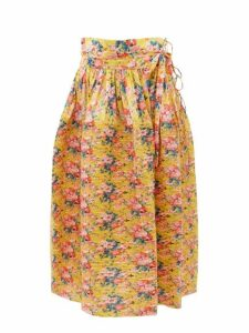 Horror Vacui - Toga High Rise Pleated Cotton Midi Skirt - Womens - Yellow Multi