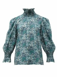 Horror Vacui - Collia Smocked Floral Print Cotton Blouse - Womens - Dark Green Multi