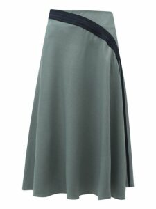 Palmer//harding - Radiant Pleated Twill Midi Skirt - Womens - Khaki