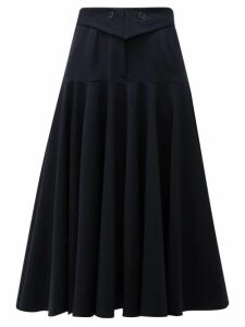 Palmer//harding - Fused Waist Wool Blend Midi Skirt - Womens - Navy