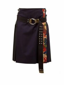 La Fetiche - Hand Pleated Wool Kilt Skirt - Womens - Black Navy