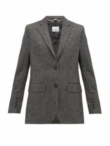 Burberry - Sidon Single Breasted Wool Blend Blazer - Womens - Dark Grey