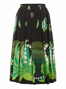 Valentino - Lily Of The Valley Print Pleated Silk Skirt - Womens - Black Multi