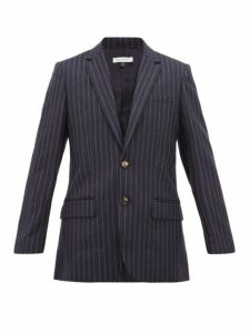 Bella Freud - Allen Chalk Striped Single Breasted Wool Blazer - Womens - Navy Stripe