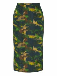 Rochas - Camouflage Print Cotton Blend Taffeta Pencil Skirt - Womens - Green Multi