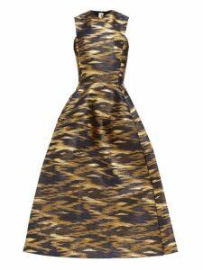 Maison Rabih Kayrouz - A Line Ikat Brocade Gown - Womens - Navy Gold