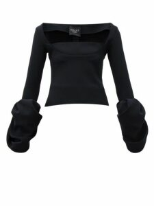 A.w.a.k.e. Mode - Distorted Cuff Crepe Evening Top - Womens - Black