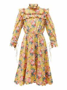 Horror Vacui - Hilaria Peony Print Cotton Dress - Womens - Yellow Multi