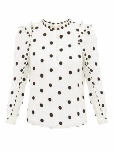 Rebecca Taylor - Ruffled Polka Dot Embroidered Silk Blouse - Womens - Ivory Multi
