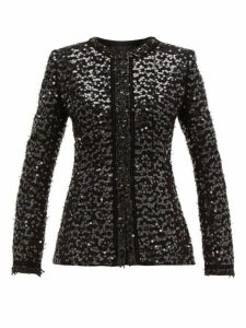 Andrew Gn - Collarless Sequinned Bouclé Jacket - Womens - Black