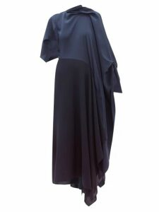 Roland Mouret - Calhern Asymmetric Draped Silk And Wool Dress - Womens - Navy
