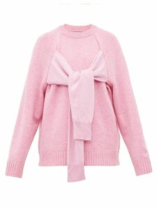 Christopher Kane - Octopus Tie Front Wool Sweater - Womens - Light Pink