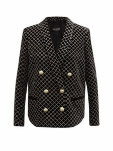 Balmain - Glitter Grid Double Breasted Velvet Blazer - Womens - Black Multi