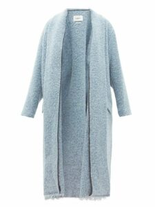 Isabel Marant Étoile - Faby Raw Hem Bouclé Coat - Womens - Light Blue
