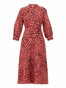 Cefinn - Camo Pansy Print Pussybow Silk Dress - Womens - Pink Multi