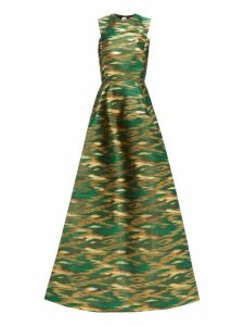Maison Rabih Kayrouz - A Line Ikat Brocade Gown - Womens - Green Multi
